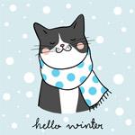 冬季涂鸦卡通猫