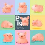 卡通小猪家庭