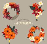 彩色秋季花环