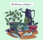 绿色盆栽和工具