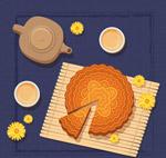 中秋节茶和月饼