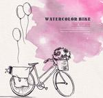水彩绘单车和气球