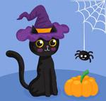 万圣节黑猫和蜘蛛