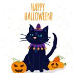 万圣节黑猫和南瓜