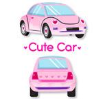 可爱粉色轿车