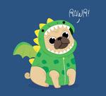 穿恐龙服的哈巴狗