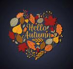 秋季树叶组合爱心
