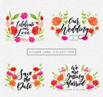 水彩绘花卉标签