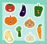 可爱表情蔬菜贴纸