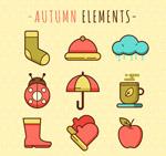 可爱秋季元素图标
