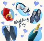 水彩绘婚礼元素