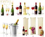 酒杯与酒矢量素材