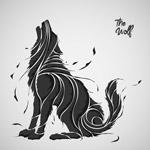 抽象嚎叫的狼