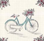 彩绘单车和花卉