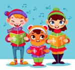 冬季唱歌的儿童