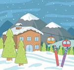 冬季滑雪场风景