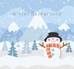 冬季雪中的雪人