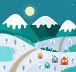 冬季夜晚村庄