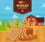 农场麦田和面包