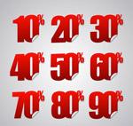 红色折扣数字贴纸