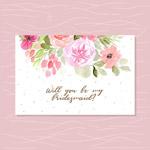 花卉水彩伴娘卡
