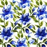 蓝色花卉无缝背景
