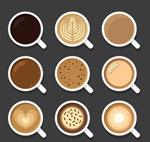 美味咖啡俯视图