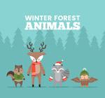 可爱冬季森林动物