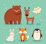 可爱雪中的动物