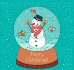 雪人雪花水晶球