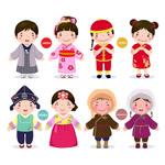 亚洲儿童矢量