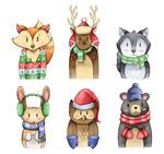 彩绘冬季服饰动物