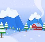 冬季郊外房屋风景