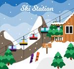 冬季滑雪缆车风景
