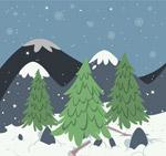 冬季雪山树木风景