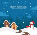 冬季房屋和雪人