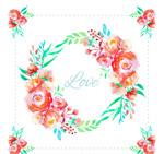 水彩绘玫瑰花环