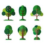 扁平化绿色树木