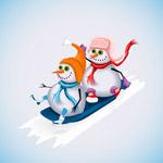 滑雪的2个雪人