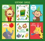 卡通动物生日卡片