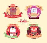 可爱圣诞动物标签