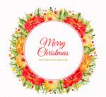 花卉框架圣诞贺卡