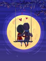 赏月的情侣背影