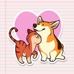 猫咪和柯基犬贴纸