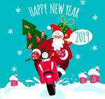 骑摩托车的圣诞老人