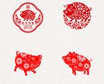 猪年春节剪纸艺术