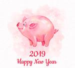 2019水彩猪