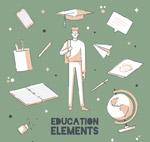 手绘教育元素