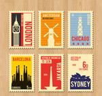 复古旅游城市邮票