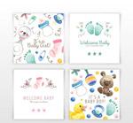 彩绘迎婴卡片